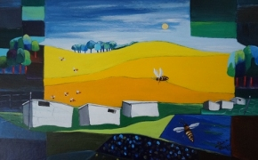 Bee-Hives - acrylic -  SOLD