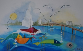 """Entering the Bay of Quinte Playground - acrylic - (36"""" x 24"""" )"""