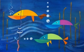 "Kandinsky Inspired - acrylic - ( 36"" x 24"" )"