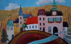 Small Town along the Rhine - acrylic