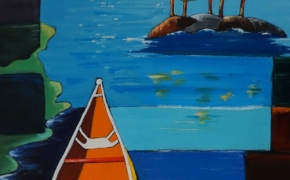 The lonely Canoe - acrylic - SOLD