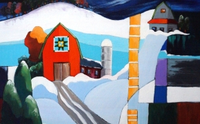 """Winter in Barn Quilt County - acrylic - ( 20"""" x 26"""" ) SOLD"""