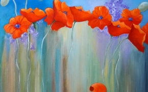 "Phlox and Poppies - acrylic - 24"" x 24"""