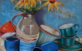 The Pottery Display - oil