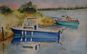 Boats in Southern France - watercolour