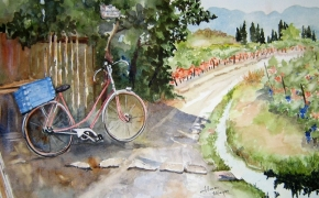 Perfect Day in Southern  France- watercolour - DONATED
