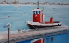 The Icebreaker Awaiting Action - oil - SOLD