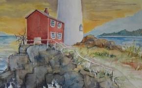 Fisgard Lighthouse - watercolour - SOLD