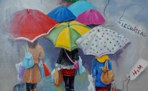 Having Fun Despite the Rain - acrylic