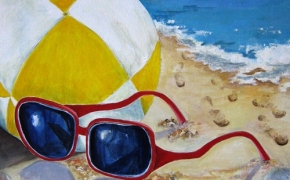 On the Beach in Nice - acrylic - SOLD