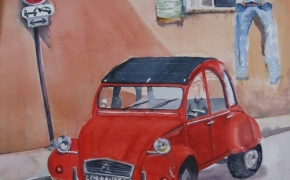 Renault in Southern France - watercolour - SOLD