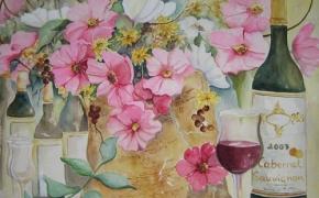 The Wine Festival - watercolour - SOLD